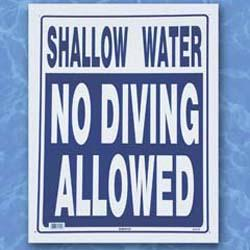Shallow Water, No Diving Sign