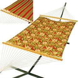 Quilted Reversible 13 Hammock, Palm Floral/Red