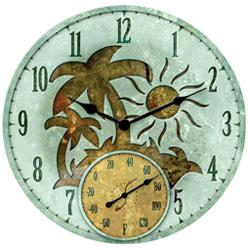 Tropical Island Clock and Thermometer