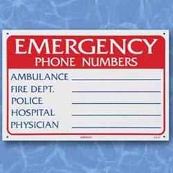 Emergency Phone Numbers - Sign