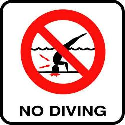 Vinyl Stickons No Diving Symbol (Red) Depth Marker for In Ground Pools