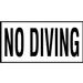 Ceramic 6x12 Skid Resistant - No Diving Words-4 inch Print Depth Marker for In Ground Pools