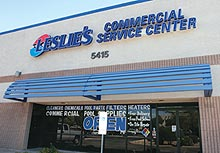 View of the Front of a Leslies Commercial Service Center