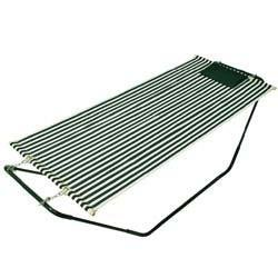 Fabric Hammock with Stand, Green/White
