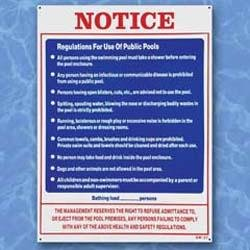 Regulations for use of Public Pools Sign