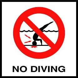 Glass Overlays No Diving Symbol Depth Marker for In Ground Pools