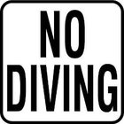 Vinyl Stickons No Diving-2 inch Print Depth Marker for In Ground Pools