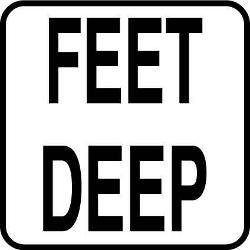 Vinyl Stickons Feet Deep-2 inch Print Depth Marker for In Ground Pools