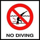 Ceramic Skid Resistant No Diving Symbol Depth Marker for In Ground Pools