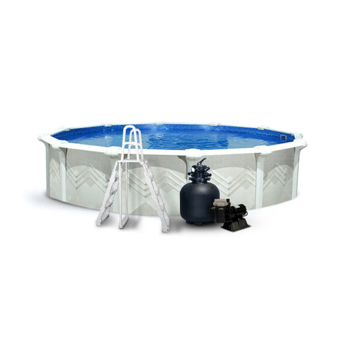 Leslie 39 s valdez round above ground pool package with 52 wall for Cheap above ground pool packages