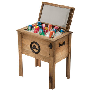 Outdoor Ventures 13650 Single Rustic Outdoor Wooden Cooler, 57 quart