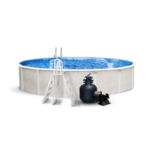 Leslie 39 s cascade above ground pool package with 52 wall for Above ground pool packages cheap