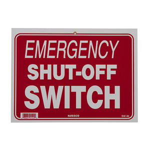 National Stock Sign SW-40 Emergency Shut Off Switch- Sign