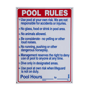 National Stock Sign SW-2 Commercial Pool Rules Sign