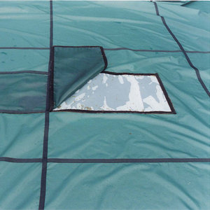 GLI Original Solid Rectangle Safety Cover with Center Mesh Drain and Left Side Step
