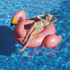 Swimline 75411 Giant Flamingo Ride-On Pool Float with Cup Holders