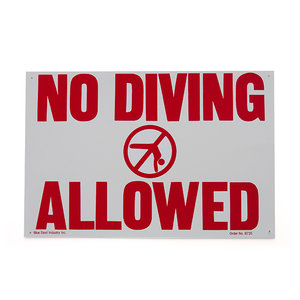 National Stock Sign 1812nd No Diving Allowed Sign
