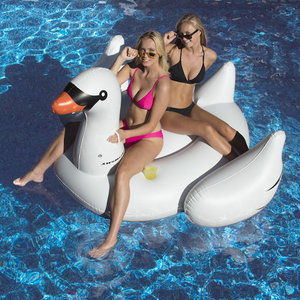 Swimline 75410 Giant Swan Ride On Pool Float With Cup Holders